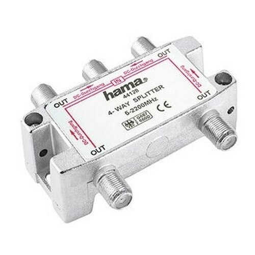 Hama SAT-Verteiler, 4 Way, Fully Shielded F-Couling 4 x F-Couling Silber