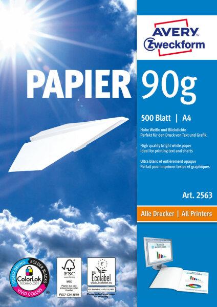 Avery Zweckform Format Papier A4 90 g/m² 500 Sheets Druckerpapier A4 (210x297 mm) Matt Weiß