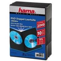 Hama DVD-Leerhülle Slim Double-Box 10, Black 2 Disks...