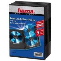Hama DVD Triple Box, black, pack of 5 3 Disks Schwarz