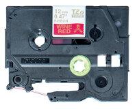 Brother TZE-RW34 Etiketten erstellendes Band Gold auf Rot