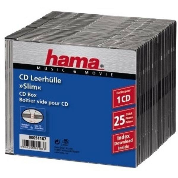 Hama CD Slim Box, black, pack of 25 pcs 1 Disks Schwarz