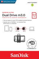 Sandisk Ultra Dual m3.0 USB-Stick 64 GB USB Type-A / Micro-USB 3.0 (3.1 Gen 1) Schwarz, Silber, Transparent