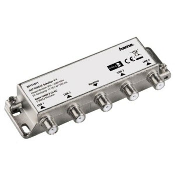 Hama 00121601 Sat-DiSEqC-Schalter Rauscharmer Signalumsetzer 0,95 - 2,5 GHz Silber