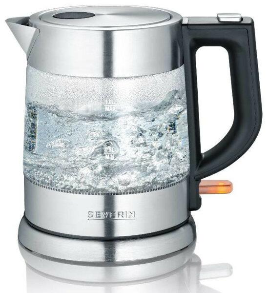 Severin WK 3468 Wasserkocher 1 l Schwarz, Edelstahl, Transparent 2200 W