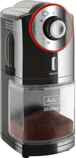 Melitta Molino Kaffeemühle Schwarz, Rot, Edelstahl 100 W