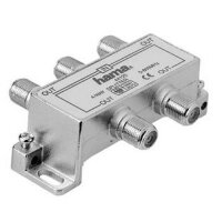 Hama CATV Splitter, 4 Way F-Couling 4 x F-Couling Silber
