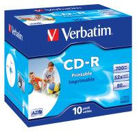Verbatim CD-R AZO Wide Inkjet Printable 700 MB 10...